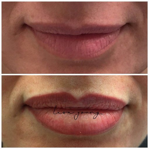 Permanent Makeup Lips before and after picture