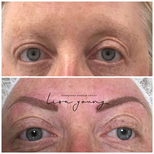 Permanent Makeup Brows before and after picture
